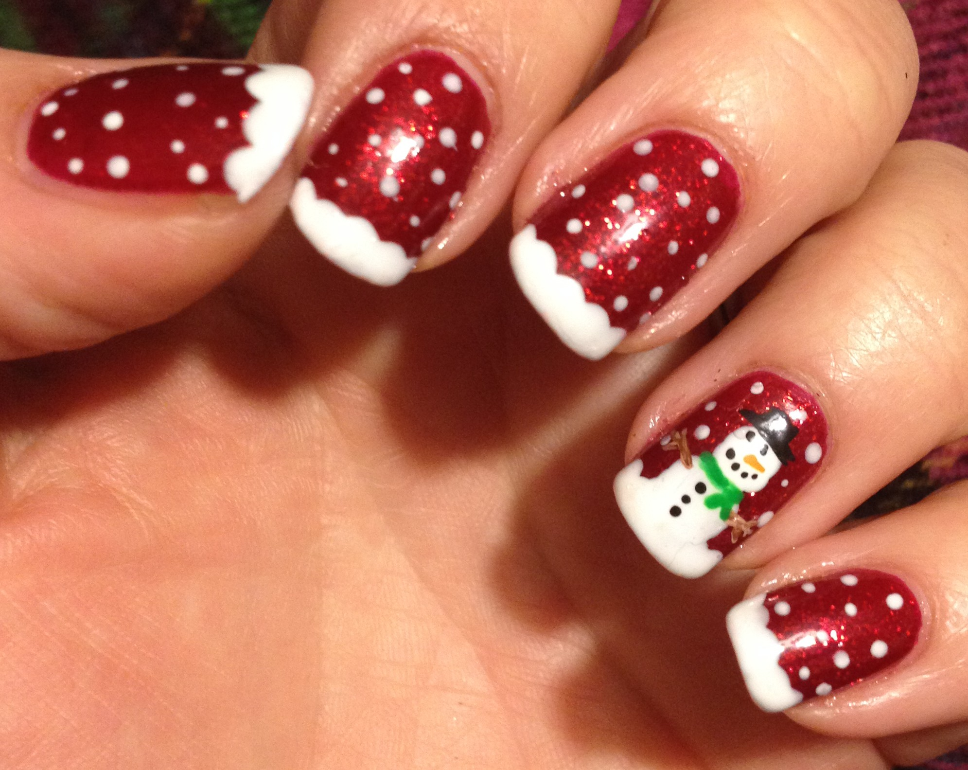 Sparkly Red Snowman Nails Polish Me Snazzy