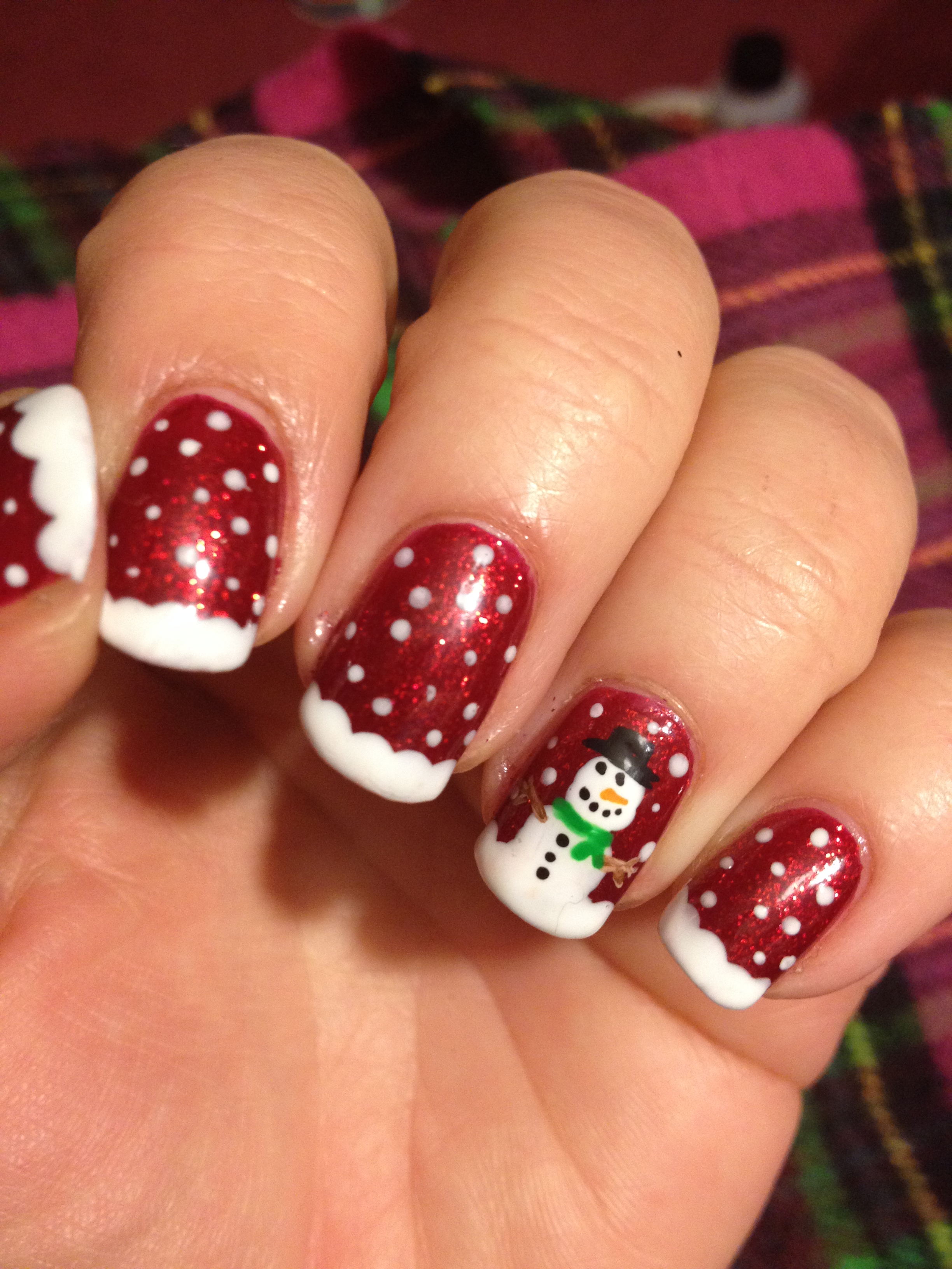 Sparkly red snowman nails polish me snazzy img3994 prinsesfo Images