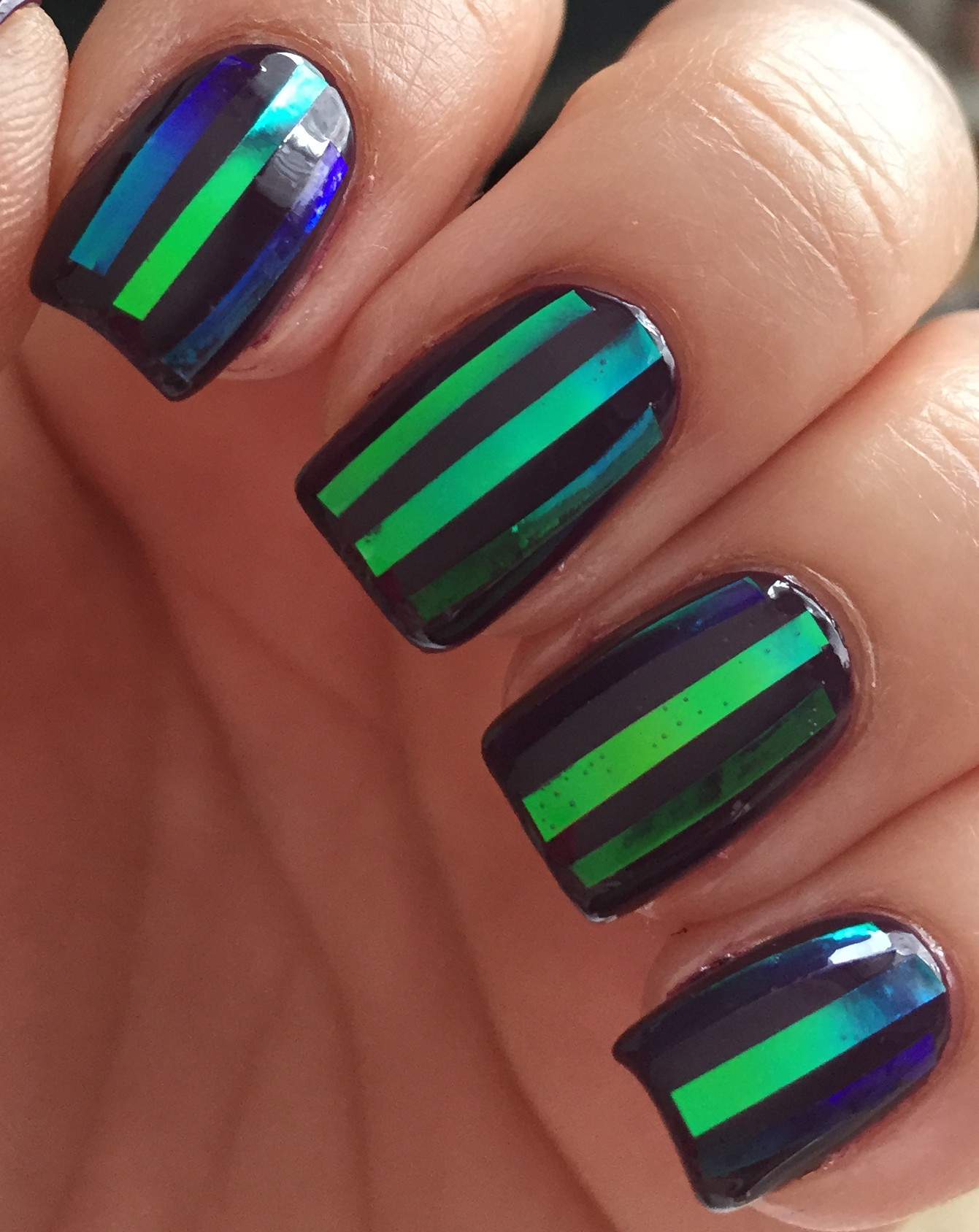 Striped Irridescent Nails – Polish Me Snazzy